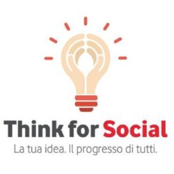 L'immagine mostra il logo del Think for Social di Vodafone
