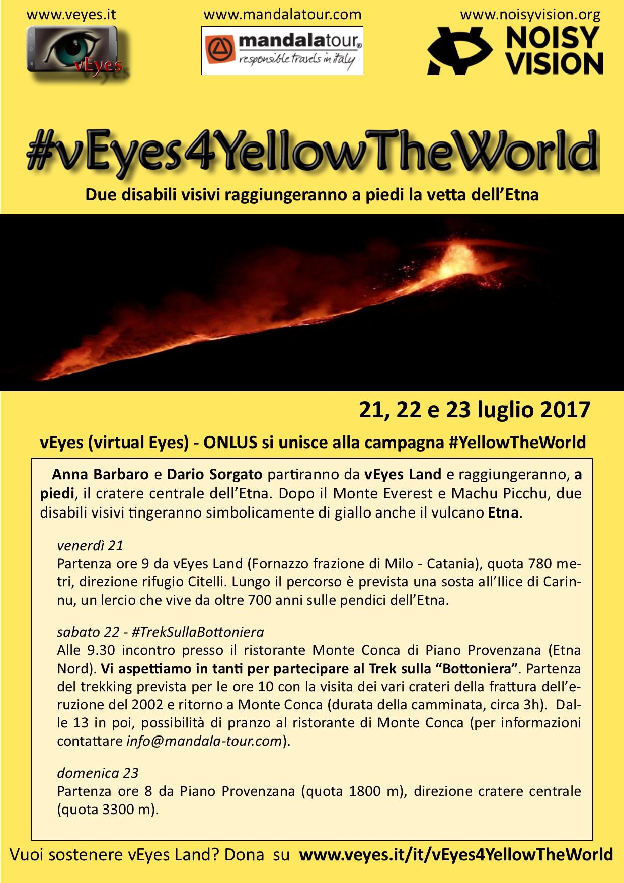 L'immagine mostra la locandina degli eventi dell'iniziativa vEyes4YellowTheWorld